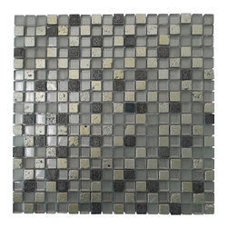 "GL Stone - Random Silver stone & Forested Glass Mosaic Tile, 1""x1""  1 Carton ( 11 Sheets ) - This mosaic tile contains porcelain and glass material, which is the great design for the interior decor. Forested finished glass mix silver porcelain create an unique mosaic tile.  Each piece fits into the next like a perfect puzzle. This mosaic tile will bring warmth and a natural ambiance to your home. It also looks great in large spaces or smaller areas like a kitchen backsplash, bathroom wall, etc."