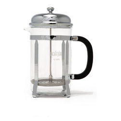 "La Cafetiere Classic 12 Cup French Press - Chrome plated finish. Filter and plunger are made from stainless steel. Heat-resistant borosilicate glass beaker. Overall dimensions: 24"" H x 14"" W x 20.3"" D"