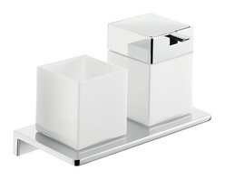 """WS Bath Collections - Asio Soap Dispenser and Toothbrush Holder - Asio 1331.204.03, 8.7"""" x 4.5"""" x 5.3"""", Holder with Toothbrush Holder and Soap Dispenser in White Crystal Glass/ Polished Chrome"""