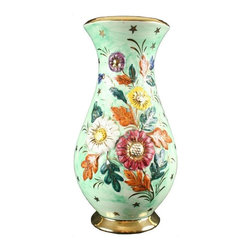 Used Large Green Vintage Belgian Bequet Style Vase - This colorful piece of vintage 1950's Belgian Majolica will be the perfect Spring addition to your collection! In overall good condition, this piece shows normal wear consistent with age and use.