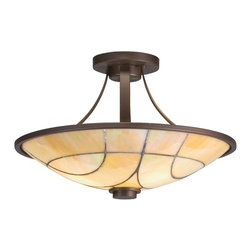 TIFFANY - TIFFANY Spyro Tiffany Semi-Flush Mount Ceiling Light X-52196 - Contemporary curvature accentuated by an Olde Bronze finish, this Kichler Lighting semi flush mount ceiling light from the Spyro Collection features creamy art glass shade with a unique patina-like quality to finish the look.