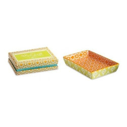 Rosanna - Calypso Rectangular Serving Dish, Set of 4 By Rosanna - Perfect for al fresco dining, our rectangular serving dish from the Calypso Collection by Rosanna dazzles in orange and lime-yellow hues, with a white geometric pattern. Packaged in a Rosanna signature gift box. Microwave and dishwasher safe.