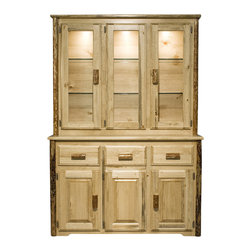 Montana Woodworks - Montana Woodworks China Hutch in Glacier Country - In a grand display of premium handcrafting, the Montana Woodworks china hutch is a rustic beauty to behold. Inspired by early lodge dining room ensembles, pine cabinetry features peeled surfaces with a protective Glacier Country finish that turns it into an heirloom showpiece. Sitting atop a matched buffet, it provides protective display space for fine collectible plates and other dinnerware. Three access doors with slat framing and glass panes offer a view to the lighted interior, adjustable glass shelving and planked backdrop. Logpole columns and bark pulls also offer smooth surfacing while retaining the authenticity that only nature can provide.