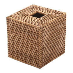Kouboo - Square Rattan Tissue Box Cover, Honey-Brown - A pretty accent for any room, this rattan tissue box cover is hand woven in Hapao style, which refers to the weaving technique in the Philippines. This honey-brown rattan tissue box cover holds a standard cube-sized tissue box.