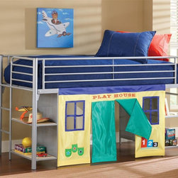 "Hillsdale - Universal Junior Loft Bed w Bookcases - NOTE: ivgStores DOES NOT offer assembly on loft beds or bunk beds."". Includes bookcase on both ends, deck, rail, shelf and cloth doors . Play space or storage space. Silver finish. Accommodates a standard twin size mattress. 80 in. L x 41.5 in. W x 48 in. H. Bunk Bed Warning. Please read before purchase.Elevated to provide either play space or storage space, the Universal Junior Loft Bed is a fun and creative addition to your child's room.���� The loft has bookshelves at both ends to provide ample storage space.���� It also offers a removable fabric curtain that creates a playhouse in the space below the bed.���� Limited on space, the Universal youth dresser fits conveniently under the bed, to increase your storage space without decreasing your living space.���� With so many options, this is the ideal bed for any child and any home."