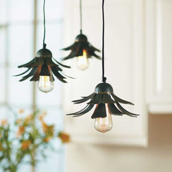 "Viva Terra - Flower Petal Hanging Light - These dainty lights, with tiers of metal petals, add a touch of sculptural eccentricity when hung individually, in a row, or suspended at different heights over a countertop or dining table. Includes mounting hardware and a ceiling cap. 60W max. Bulb not included. Hardwire; professional installation recommended. 9.5""DIAM x 6""H; 6'L CORD"