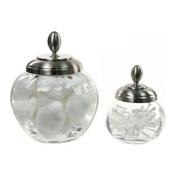 Windisch - Satin Nickel 2 Piece Jar Accessory Set of Clear Glass - Satin nickel 2 piece set from the Windisch Botijo Collection.