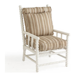 European Spindle Chair - White - Spindles were originally found in Western Europe in the 17th century, but our chair is modeled after a late 19th-century chair. Made of birch wood, this chair has detailed woodwork but manages to keep a simple, refined look. Comes with a oatmeal and cream striped cushion.