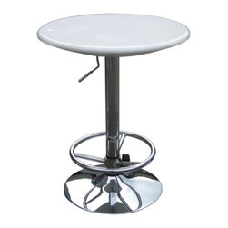 Boraam - Boraam Luna Adjustable Pub Table in White - Boraam - Pub Tables - 99331 - This modern and unique Luna bar table is perfect for the urban home and adds a bit of sass to the decor.