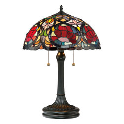 Quoizel - Quoizel Vintage Bronze Lamps - SKU: TF879T - This beautiful Tiffany style collection features a handcrafted, genuine art glass shade created in rich jewel tones as well as soft pastels. The glass is arranged in a classic Art Nouveau pattern. The warm color palette creates a harmonious balance of light, and the complementary base is finished in a vintage bronze.