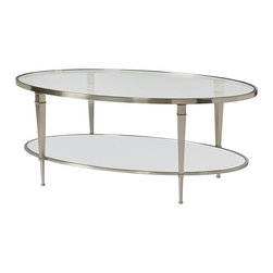 "Hammary - Mallory Oval Cocktail Table - ""An elegant, classic design that is compatible with multiple styles. Clean lines & reflective finishes give this group it's graceful appeal. Crafted of Steel & Antiqued Mirror Inserts. Brushed Nickel finish."