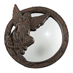Rustic Cast Iron Angel Wall Mirror 9 Inch - This cool retro style wall mirror has a cast iron frame featuring a beautiful angel. The frame of the mirror has a rustic, distressed brown enamel finish that gives it an aged look. The mirror measures 9 inches by 10 1/4 inches inches in diameter, with a mirrored area measuring 7 inches by 4 inches. It makes a great gift for angel lovers.
