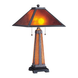 Lite Source - Table Lamp, Dark Coffee With Mica Shade, Type A 60Wx2 - Table Lamp, Dark Coffee W/Mica Shade, Type A 60Wx2