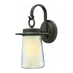 Hinkley Lighting - Hinkley Lighting 2010OZ Riley 1 Light Outdoor Wall Lights in Oil Rubbed Bronze - Riley�s shallow roof, arm and metal scroll bring a refined Arts & Crafts element to its aluminum construction. The seedy outer glass and inner etched opal glass offer a unique �layered light� effect.