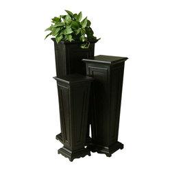 "Uttermost Keir Black Plant Stands, Set/3 - Matte black. This set of three plant stands has a matte black finish. Sizes: sm-11""x29""x11"", med-12""x35""x12"", lg-14""x41""x14"""