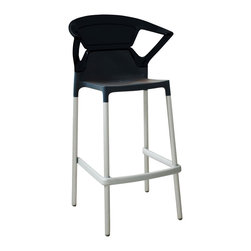 Papatya - Ego-K Barstool - Set of 4, Black Frame / Solid Black Back - Ego-K Barstool - Set of 4
