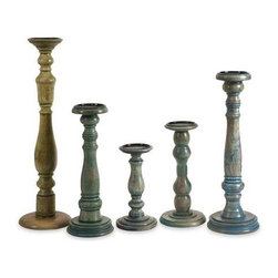 Levi Wood Candleholders - Set of 5 - With varying shapes and turned wood styles, this collection of five candleholders each has a unique antiqued finish revealing beautiful wood grain. Holds pillar candles.