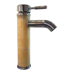 Renovators Supply - Faucets Chrome/Honey Round Single-Lever Marble Faucet - Marble and Chrome Single Hole Faucets: Our single lever faucet is constructed of solid brass, chrome-plating finish, and has a top rated 500,000 cycle cartridge. This tall single lever faucet has a round lever. Faucet comes with supply lines and mounting hardware. Measures 9 3/4 in. high and 6 in. from spout to counter.