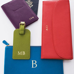 """Horchow - Passport Cover, Personalized - Planning your next trip? Don't forget these globetrotting essentials—all are made of durable leather and can be personalized with up to three initials. Luggage tag, 2.5"""" x 6.25"""". Passport cover, 4"""" x 5.5"""". Flat case, 4.5"""" x 8.5"""". Travel wallet, 4.5"""" x 10"""". Made in the USA. You will be abl"""