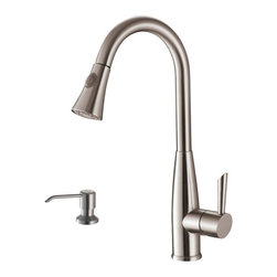 Ruvati - Ruvati RVF1228K1ST Pullout Spray Kitchen Faucet with Soap Dispenser-Stainless St - This premium Ruvati kitchen faucet from the Cascada collection is constructed of solid brass giving it exceptional durability. The ceramic disc cartridge ensures drip-free functionality. The faucet can be installed into countertops up to two inches thick. Hot and cold water connection hoses are included.
