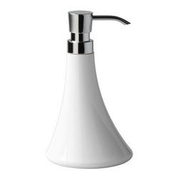 Gedy - Round Thermoplastic Soap Dispenser, White - Just the lotion dispenser pump for a more modern personal bath - keep soap handy at all times with this liquid hand soap dispenser.