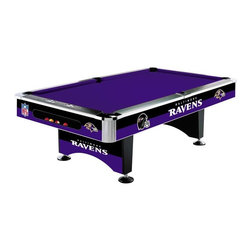 Imperial International - Baltimore Ravens NFL 8 Pool Table - Check out this AWESOME Pool Table. It's the ULTIMATE centerpiece to anchor your Man Cave design. This is a 8-ft regulation size Billiard Table with commercial quality construction and 1-inch thick 3-piece slate playing surface. It's perfect for your Man Cave, Game Room or garage.