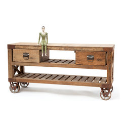 Go Home - Reclaimed Wood Sturbridge Table - Fantastic Sturbridge Table inspires your living. It is amazingly crafted with reclaimed wood, sure this will be one of your favorite pieces in your home. It has two drawers and also has four wheels that allowing ease in moving. *Doll not included