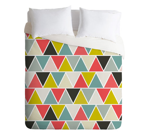 DENY Designs - Heather Dutton Triangulum Queen Duvet Cover - Designer Heather Dutton's triangle print is full of unexpected touches, from fresh color combinations such as salmon pink and citron to sprinkled polka-dotted patches reminiscent of a patchwork quilt. Just slip this silky cover over your duvet to give your room an instant stylish focal point.