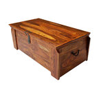 Sierra Living Concepts - Solid Wood Wooden Storage Trunk Chest Box Coffee Table - Wonderful Multi-Purpose Rustic Solid Wood Storage Trunk that is beautiful enough to be used as a coffee table.