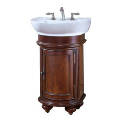 Kaco International Inc. - Kaco 5300-2400-1005W Arlington Round Vanity - The Arlington, a stately traditional cabinet, features panel and frame doors, raised moulding drawer trim, bowed front , and fluted pilasters supported by rounded bun feet. Kaco products feature a Sherwin Williams water resistant furniture grade finish and a complete package of complimenting products for the bath.