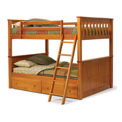 Chelsea Home - Full Over Full Mission Panel Bunk Bed - NOTE: ivgStores DOES NOT offer assembly on loft beds or bunk beds.. Includes underbed storage drawers. Mattresses not included. Rustic style. Wooden ladder. Hand stain finished with three steps process to compliment the natural wood grain. Rails connect to the bed ends by a metal to metal machine bolt and t-nut for a secure hold. Meet and exceed all of the following rules: ASTM F-1427-07, CFR 1213, CFR1513 and lead testing. Constructed for strength and durability. Warranty: One year. Made from solid plantation-grown pine wood. Honey finish. Made in Brazil. Assembly required. 81 in. L x 55 in. W x 68 in. H (231.8 lbs.). Bunk Bed Warning. Please read before purchase.Warning: Falling hazard, bunk beds should be used by children 6 years of age and older!