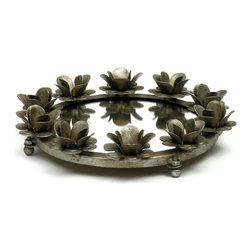 Small Antique Silver Rose Round Mirrored Tray - Stunning Small Silver Rose Round Mirrored Tray offers plentiful space to display drinks and serve small eats.It is crafted with iron & mirror and has antiqued bronze finish.A perfect addition to your serve ware and adding life to the table or buffet.