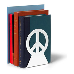 Spectrum Diversified Designs - Pair of Peace Bookends, White - Peace. Add a bit of spunk to your shelves or desk with the Peace Bookends. This pair of white heavy duty bookends will keep your books standing upright and stacked neatly in place.