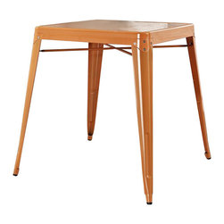Crosley Furniture - Crosley Furniture Amelia Metal Cafe Table in Orange - Crosley Furniture - Dining Tables - CF220130OR - Originally made famous in the quaint bistros of France these midcentury replicas of original cafe tables will offer a dose of nostalgia combined with careful consideration for your wallet.  This inspired revival evokes a sense of a true vintage find.