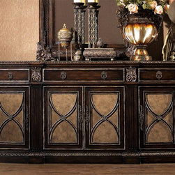 Essex Credenza - Essex credenza in Antique Chestnut distressed finish with marble inlay top and velvet-lined top drawer. Credenza features gold accent with exquisite details carved from solid mahogany wood.