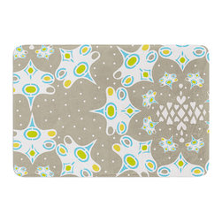 "KESS InHouse - Miranda Mol ""Ornamental Splash Silver"" Gray Memory Foam Bath Mat (17"" x 24"") - These super absorbent bath mats will add comfort and style to your bathroom. These memory foam mats will feel like you are in a spa every time you step out of the shower. Available in two sizes, 17"" x 24"" and 24"" x 36"", with a .5"" thickness and non skid backing, these will fit every style of bathroom. Add comfort like never before in front of your vanity, sink, bathtub, shower or even laundry room. Machine wash cold, gentle cycle, tumble dry low or lay flat to dry. Printed on single side."