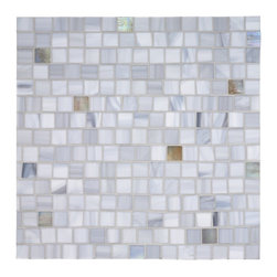 Tempo Squares Glass Mosaic Tile - I love all of the variation in this glass mosaic, very modern. With a little bit of warm tone thrown in here and there, this would be a great way to tie in a warmer cabinet color with a white/gray marble countertop.