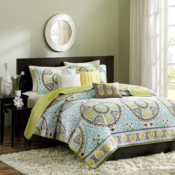 Madison Park - Madison Park Samara Bali 6 Piece Quilted Coverlet Set Multicolor - MP13-372 - Shop for Bedding Sets from Hayneedle.com! The Madison Park Samara Bali 6 Piece Quilted Coverlet Set adds a fun pop of color and style to your dorm or bedroom. Bright yellows blues and greens work together to create an intricate boho medallion design. Made of plush cotton and polyester this bedding is ultra comfy and machine-washable. Offered in a variety of sizes. It includes the quilted coverlet two pillow shams and three decorative pillows. Coverlet Dimensions: Full/Queen: 90 x 90 in. King: 104 x 94 in.