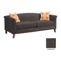 Apt2B - Albright Apt. Size Sofa, Chocolate - The Albright Collection is super chic. With a smooth back and tapered wooden legs, this sofa is sure to class up your space.