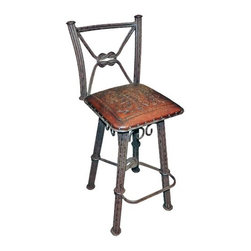"""New World Trading - Western Iron Colonial Barstool (Set of 2) - Features: -Color: Antique Brown. -Material: Wrought iron. -Back with swivel. -Hand tooled leather. -Nailheads. -Made by artisans. -Saddle leather. -Made 1 at a time. -Original designs. -Reviving an ancient art. Specifications: -Bar H: 42"""". -Counter H: 38""""."""