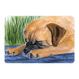 Caroline's Treasures - Bullmastiff Kitchen or Bath Mat 24 x 36 - Kitchen or Bath Comfort Floor Mat This mat is 24 inch by 36 inch. Comfort Mat / Carpet / Rug that is Made and Printed in the USA. A foam cushion is attached to the bottom of the mat for comfort when standing. The mat has been permanently dyed for moderate traffic. Durable and fade resistant. The back of the mat is rubber backed to keep the mat from slipping on a smooth floor. Use pressure and water from garden hose or power washer to clean the mat. Vacuuming only with the hard wood floor setting, as to not pull up the knap of the felt. Avoid soap or cleaner that produces suds when cleaning. It will be difficult to get the suds out of the mat.