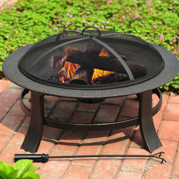 "30"" Matte Black Steel Wood-Burning Fire Pit - This wood burning fire pit will let you bring all the fun and warmth of an outdoor fireplace to your patio on a small budget."