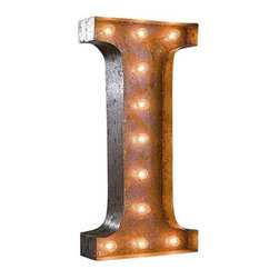 "Used 24"" Vintage Marquee Light - Letter I - Great for weddings, restaurants, bars, events, home decor, or even photo/set props. These Vintage Marquee Lights are what the ""Pickers"" dream of finding! The are carefully crafted from rusty metal to make them look authentic and antique.  Artificial wear and tear is created on each letter and wear will differ from sign to sign. Color will also vary due to naturally occurring rust.     Due to the rust, inside packaging can become dusty during transit. Open with care. Once open, shake dust off. There is a 24"" tall, 4"" deep (arrow 36"" tall) hanging bracket on back for easy wall installation. New UL Approved wiring, plugs, sockets and C9 bulbs included. 5 spare bulbs per sign also included incase of breakage during shipping. Plug into standard outlet. Indoor/outdoor use."
