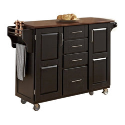 Home Styles - Home Styles Create-a-Cart in Black Finish with Cherry Top - Home Styles - Kitchen Carts - 91001047G - Home Styles Create-a-cart in a black finish with a 3/4 inch Cherry finished wood top features solid wood construction, and 4-Utility drawers; 2 cabinet doors open to storage with adjustable shelf inside; Handy spice rack with Towel bar; Paper Towel holder; Heavy duty locking rubber casters for easy mobility and safety. Size: 48w 17.75d 35.5h. Assembly required.