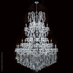 Worldwide Lighting Maria Theresa Chandelier W83068C54 - Worldwide Lighting Maria Theresa Collection 61 light Chrome Finish and Clear Crystal Chandelier Four 4 Tier
