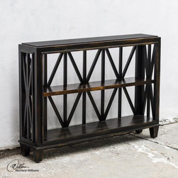Uttermost - Uttermost Asadel Wood Console Table - Carved Moldings And Open Fretwork Made From Plantation-grown Mango Wood In Soft  Worn Black Finish.