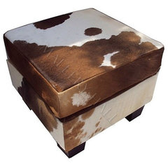 Brown Cowhide Square Ottoman - $1,035.00 : Mallery Hall, Unique Old World Design