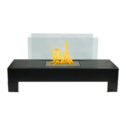 None - Gramercy Indoor/ Outdoor Floor Standing Ethanol Fireplace - Enjoy the warmth and beauty of a roaring fire inside or out with this standing ethanol fireplace from Gramercy. This fireplace is easy to set up, requiring no permanent installation and is fueled with ethanol, eliminating the need to burn wood.