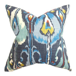 The Pillow Collection - Gundrun Blue 18 x 18 Ikat Throw Pillow - - Pillows have hidden zippers for easy removal and cleaning  - Reversible pillow with same fabric on both sides  - Comes standard with a 5/95 feather blend pillow insert  - All four sides have a clean knife-edge finish  - Pillow insert is 19 x 19 to ensure a tight and generous fit  - Cover and insert made in the USA  - Spot clean and Dry cleaning recommended  - Fill Material: 5/95 down feather blend The Pillow Collection - P18-ROB-IKATBANDS-INDIGO-C100