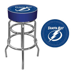 Trademark Global - Bar Stool w Padded Seat & NHL Tampa Bay Light - Grab a comfortable seat that shows your true team spirit. Officially licensed by the NHL, this Tampa Bay Lightning stool has vinyl upholstered seat with distinct team logo and blue & white color scheme. Retro looking steel base enhanced with sleek chrome accents. Adjustable levelers. Long lasting officially licensed NHL team logo. Great for gifts and recreation decor. 7.50 in. High padded seat. 30 in. High bar stool great for bar pub table and bars. Commercial grade vinyl seat. Chrome plated double rung base. 14.75 in. W x 14.75 in. D x 30 in. H (17 lbs.)This National Hockey League Bar Stool will be the highlight of your bar and game room.